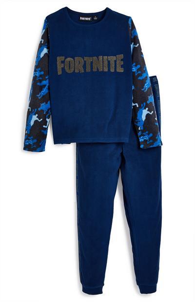 Donkerblauwe pyjama van fleece met Fortnite-logo voor jongens
