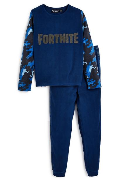 Marineblaues Fleece-Pyjamaset mit Fortnite-Logo (Teeny Boys)