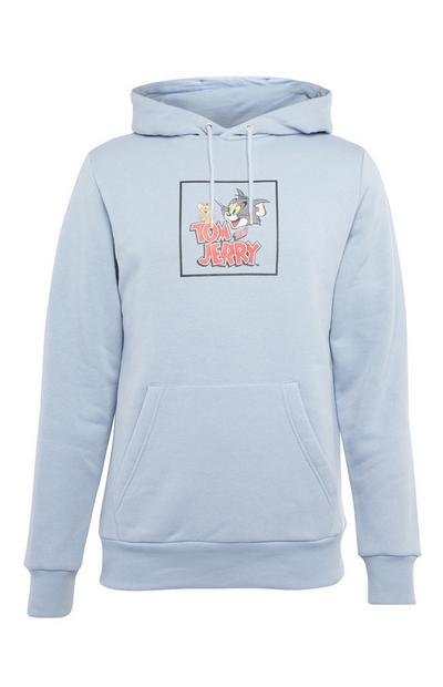 Light Blue Tom and Jerry Print Hoodie