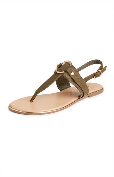 Sandálias tiras círculo metal caqui