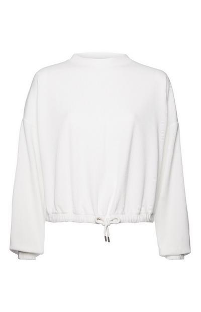 White Textured Drawstring Sweatshirt