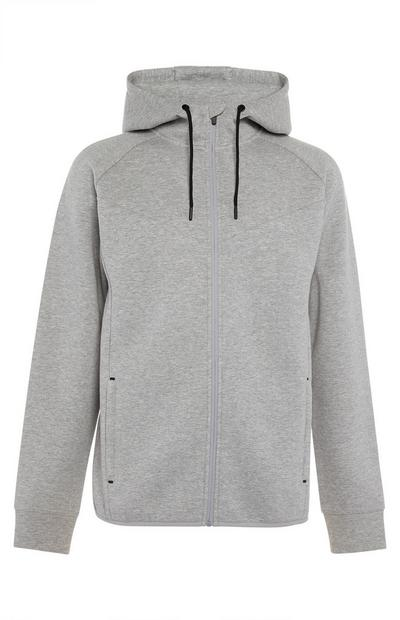 Grey Sports Zipper Tracksuit T-Shirt