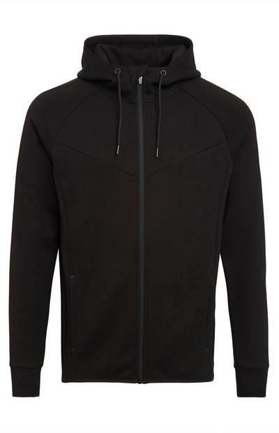 Black Sports Zip Up Hoodie