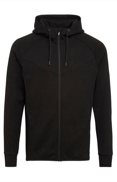 Sudadera deportiva negra con capucha y cremallera