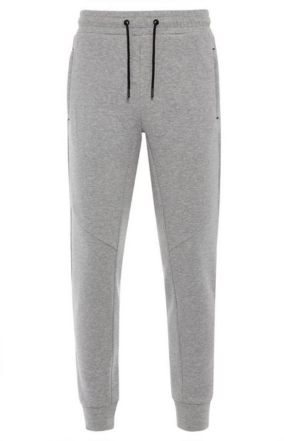 Gray Sports Zipper Tracksuit Joggers