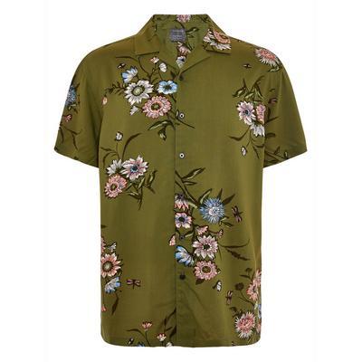 Camicia kaki a maniche corte con motivo floreale orientale in viscosa