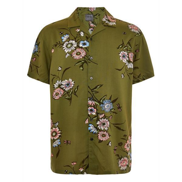 Olive Oriental Floral Viscose Short Sleeve Shirt