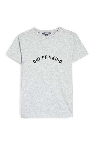 Gray One Of A Kind Slogan Short Sleeve T-Shirt