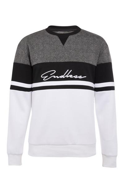 Endless Black and White Crew Neck Sweater