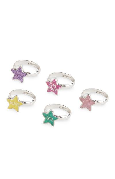 Kids Plastic Star Rings Set 5 Pack