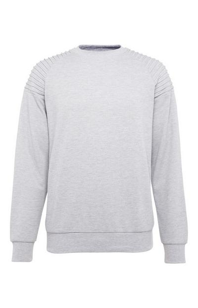 Gray Biker Crew Neck Sweater