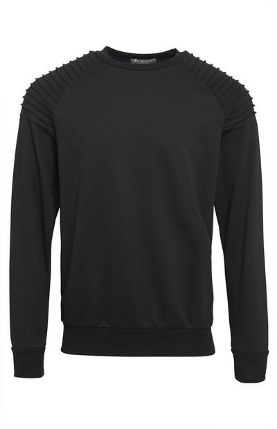Sweat-shirt noir ras du cou style motard