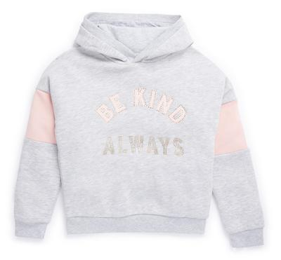 Older Girl Grey and Pink Crop Hoodie