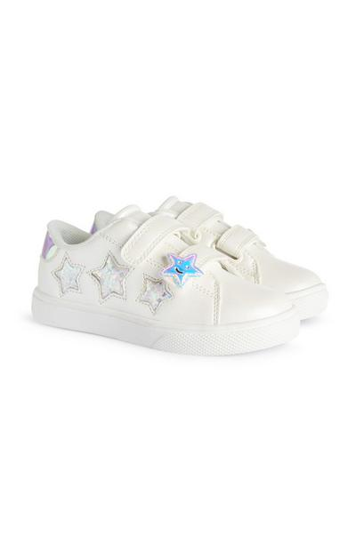 Younger Girl White Star Sneakers