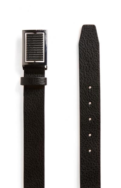 Black Faux Leather Pattern Belt