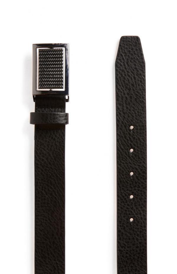 Cinturón de cuero sintético negro con textura