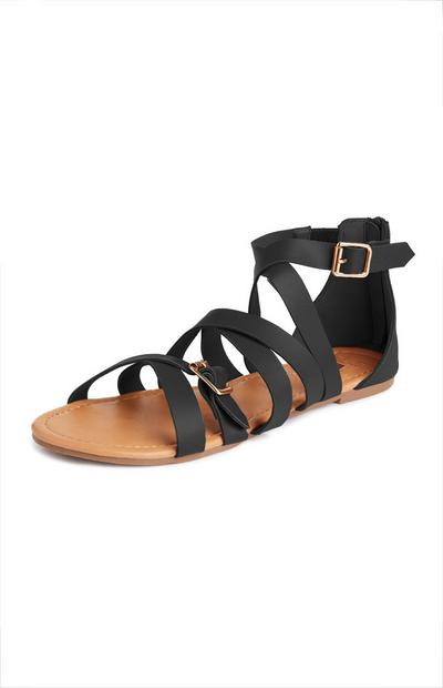 Black Buckle Gladiator Sandals