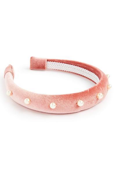 Serre-tête rose poudré matelassé à perles