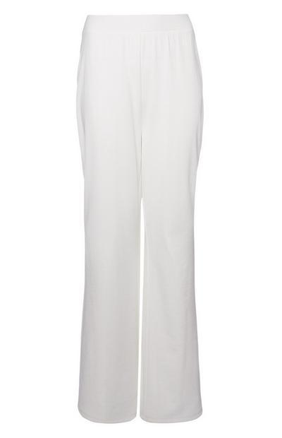 Calças treino texturadas perna larga branco