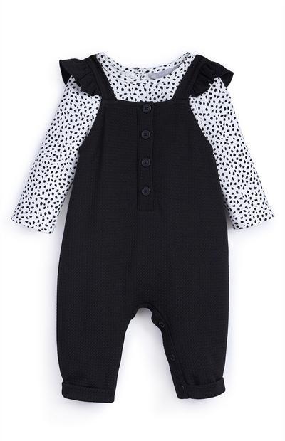 Dekliški črno-bel komplet majice in hlač z naramnicami za dojenčke
