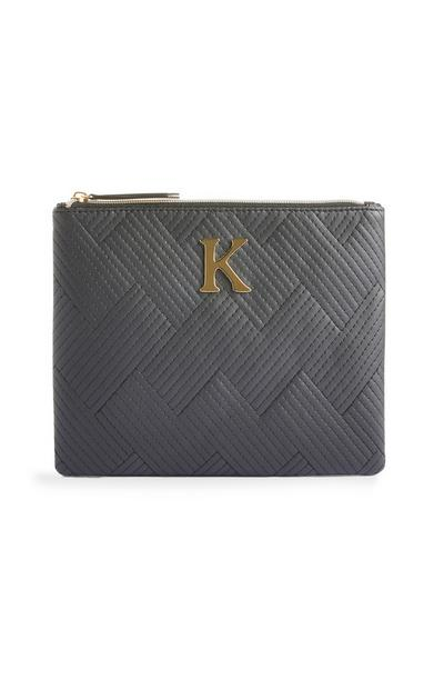 Black Stitched K Initial Makeup Bag