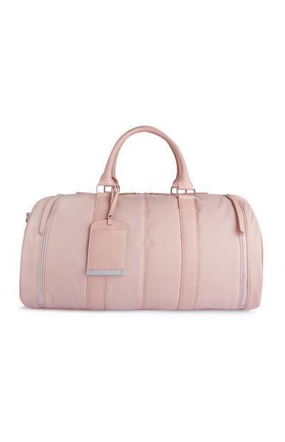 Pink Nylon Barrel Weekender Bag