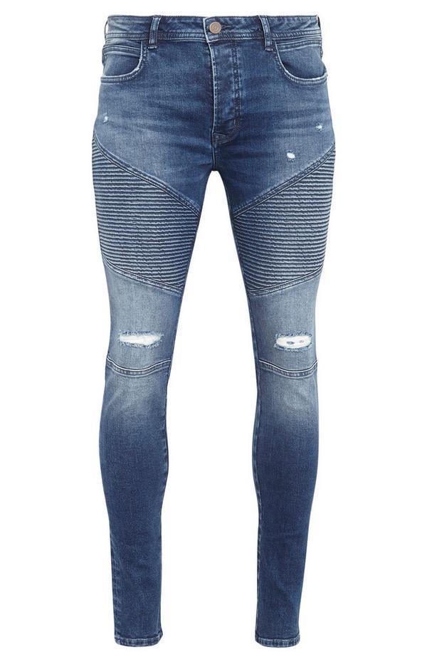 Mid Blue Skinny Ripped Biker Jeans