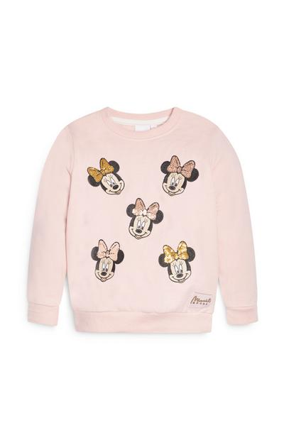 Younger Girl Minnie Mouse Crew Neck Sweater