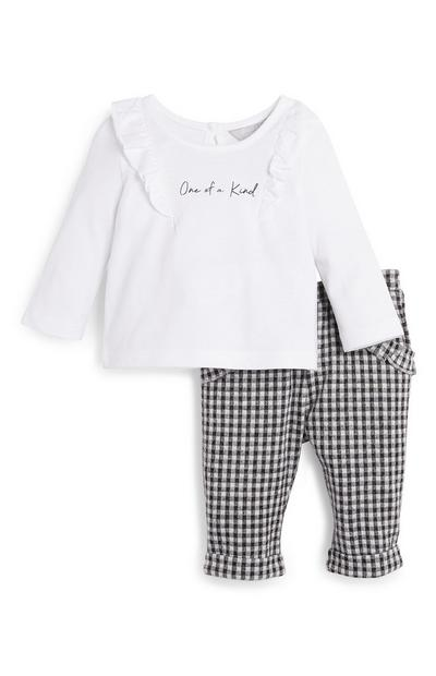 Baby Girl Check Pants and White Top Set