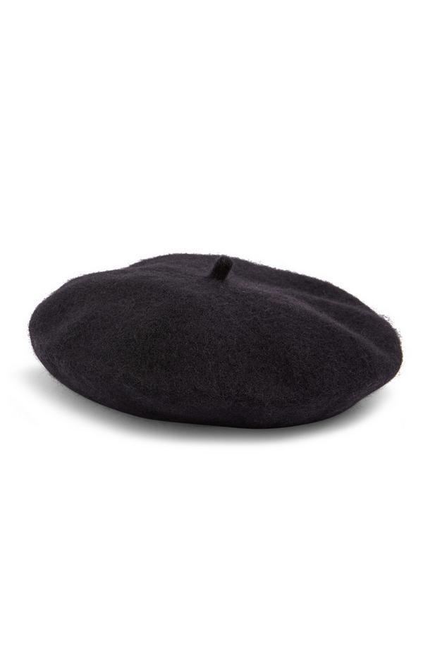 Schwarze Baskenmütze aus Wolle