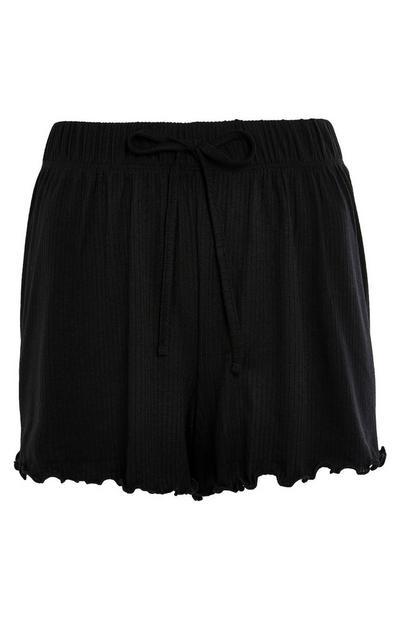 Black Puckered Jersey Rib Pyjama Shorts