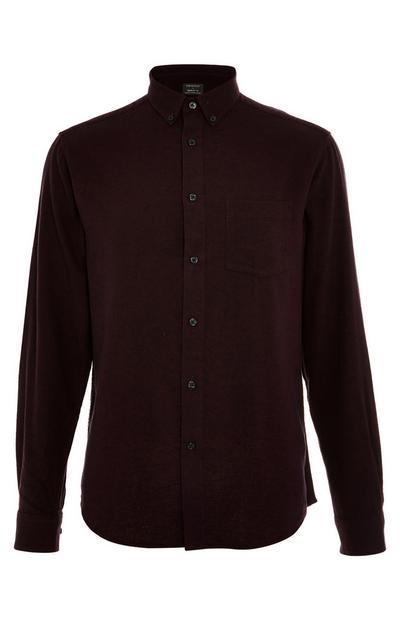 Camisa de franela de manga larga en color burdeos