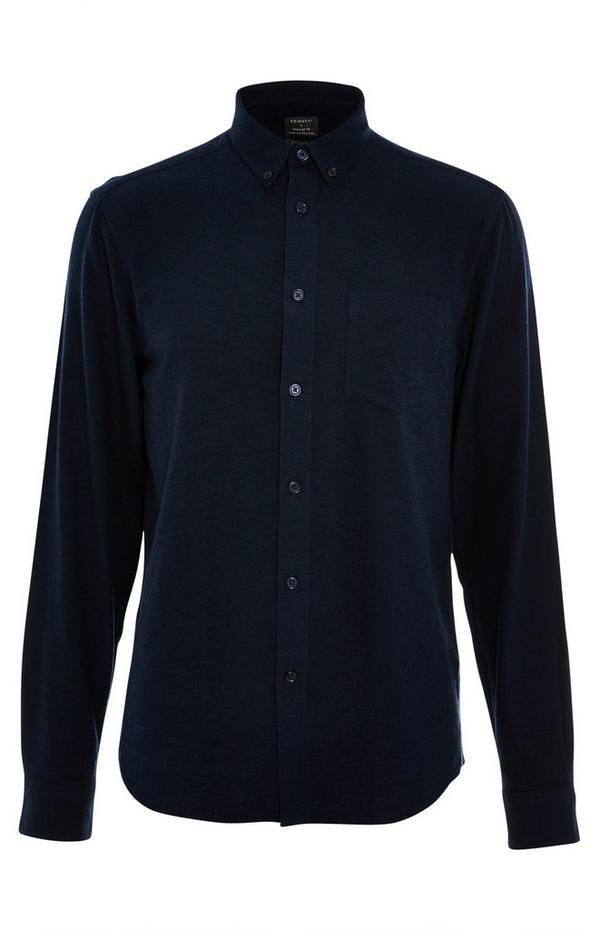 Marineblaues, langärmeliges Flanellhemd