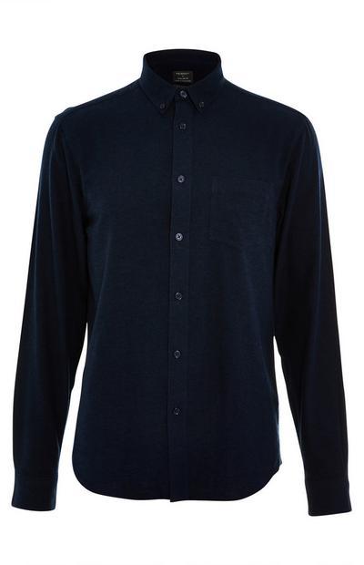 Chemise en flanelle unie bleu marine à manches longues