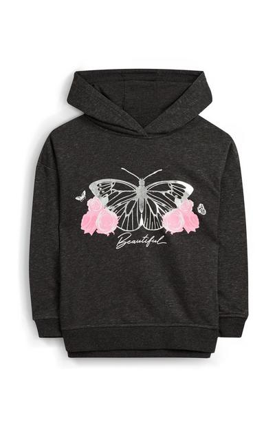 Younger Girl Black Butterfly Print Hoodie