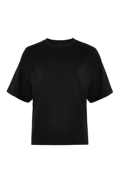 Black Cotton Boxy T-Shirt