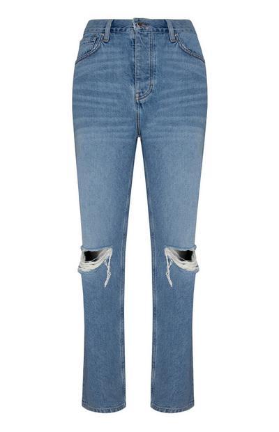 Calças ganga corte direito rasgões joelhos azul