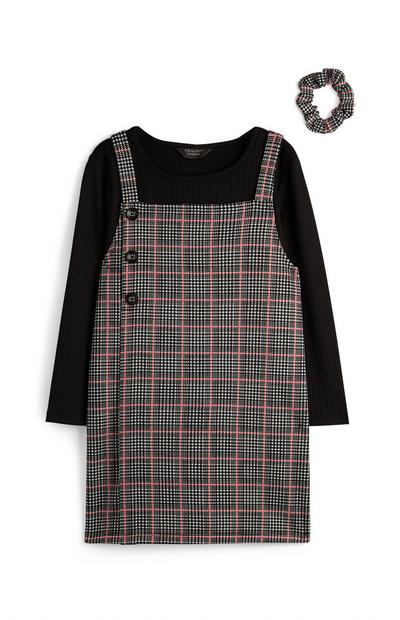 Younger Girl Two In One Grey Check Dress And Longsleeve T-Shirt