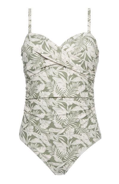 Green Leaf Print Twist Control Swimsuit