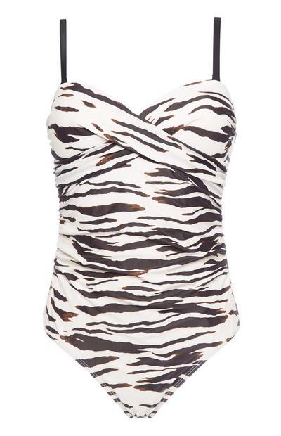 White Zebra Print Control Twist Swimsuit