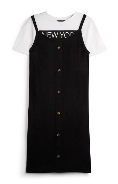 Older Girl Two In One Black Buttoned Dress And T-Shirt