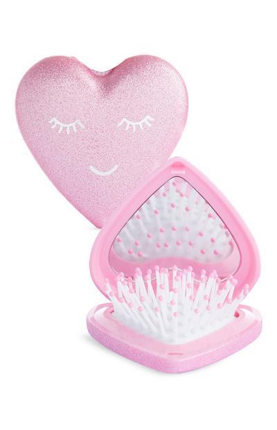 Brosse à cheveux compacte rose en forme de cœur et miroir