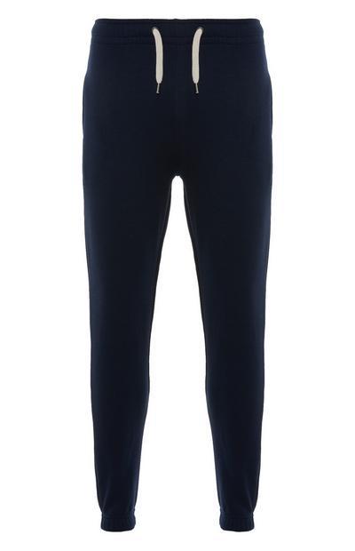 Joggers blu navy con cordoncino e risvolto alla caviglia