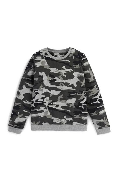 Older Boys Camo Crew Neck Sweater
