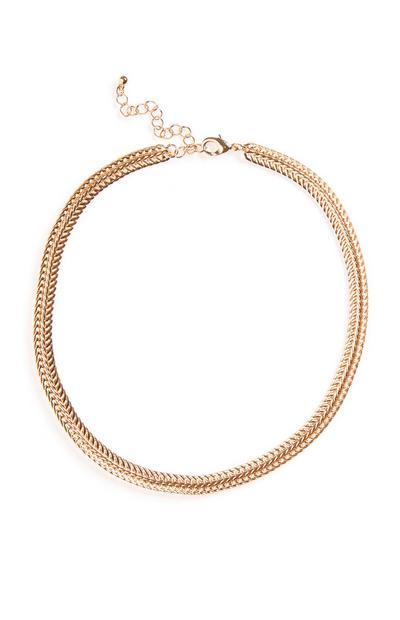 Collier large en chaîne dorée