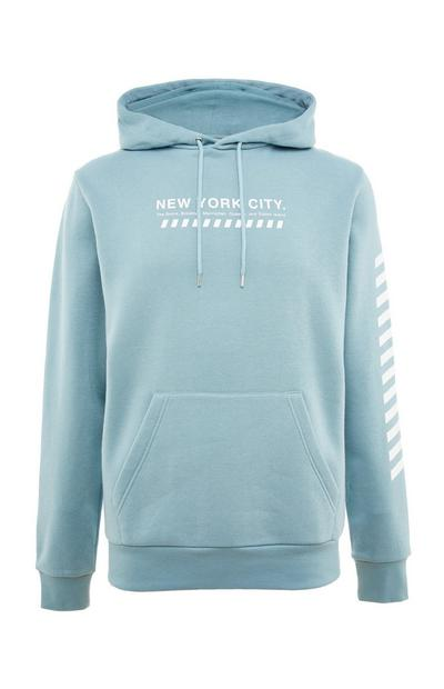 Blue New York City Print Sleeve Overhead Hoodie