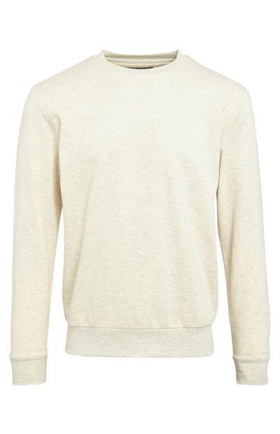 Basic ecru sweater met ronde hals