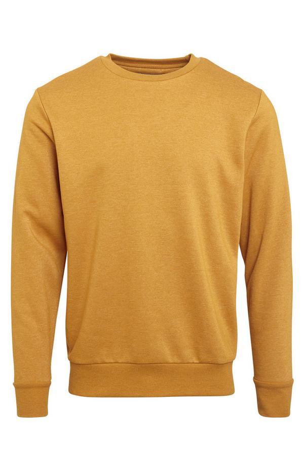 Sweat-shirt moutarde à col ras du cou basique