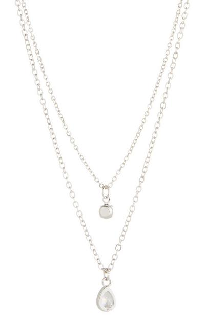 Diamond And Teardrop 2 Row Necklace