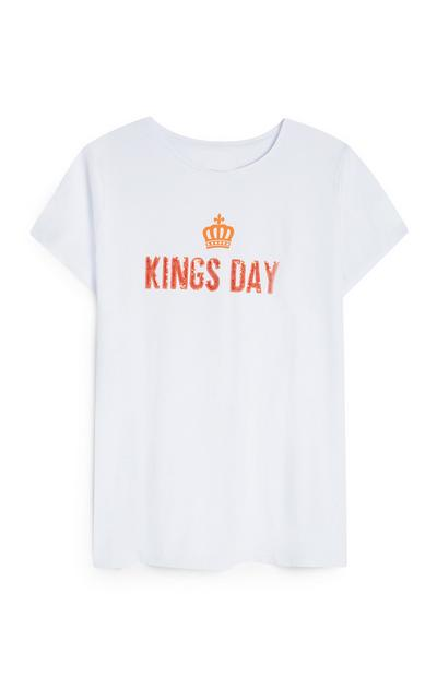 Wit T-shirt King's Day met pailletten